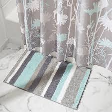Mint Green Bath Rugs by Amazon Com Interdesign Stripz Microfiber Bath Rug 34 X 21 Inch