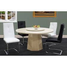 Esofastore Modern Design 5 Pcs Ivory Color Marble Round Dining Room Table With 4 Side Chairs In Two Colors Black White