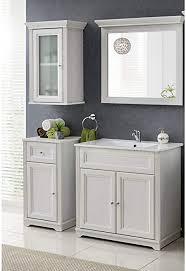 lomadox vintage badmöbel set in andersen pine weiß 80 cm waschtischunterschrank inkl keramik waschbecken im landhaus look hängeschrank mit glastür