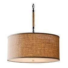 leinen stoff pendelleuchte handgemachte rustikale rund hängele trommel moderne braun lenschirm für wohnzimmer schlafzimmer esszimmer 5