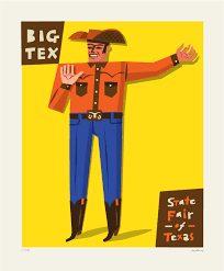 Big Tex Yellow Background 40 X 30 Inch Prints Are 52500 Each Tax Shipping For An Additional Fee Paper Can Be Framed