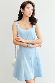 light blue dress south korea airport fashion kpop drama korean