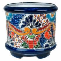 Ringed Footed Talavera Flower Pot