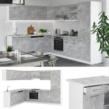 vicco küchenzeile r line eckküche winkel küche einbau beton mit arbeitsplatten