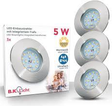 b k licht led einbauleuchte elias led einbaustrahler ultra flach badezimmer ip44 decken spot gu10 3er set kaufen otto