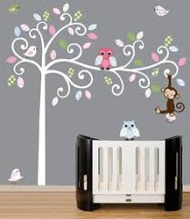 Owl Bedroom Wall Stickers by Baby Wall Decal White Tree Wall Decal Owl White Pink Grey Leaves