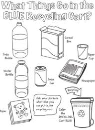 What Things Go In The BLUE Recycling Cart Coloring Sheet