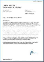 exemple lettre de motivation cuisine exemple lettre de motivation cuisinier en collectivité contrat