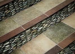 Green Standing Pebble Tile Staircase Riser Modern