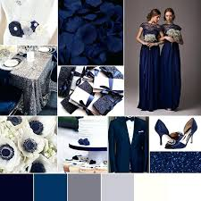 Does Gray And Blue Match Wedding Color Palette Winter Navy Midnight Silver White Glam
