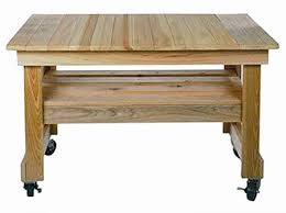 Primo Grill Unfinished Cypress Prep Table With Locking Wheels