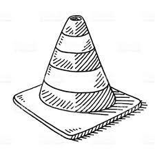 Traffic Cone Drawing royalty free stock vector art
