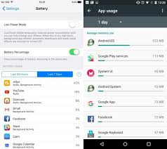 iOS battery use left and Android memory use right