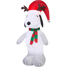Walmart Inflatable Halloween Cat by 5 U0027 Airblown Inflatable Snoopy With Antlers And Santa Hat Christmas