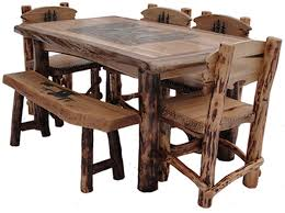 Woodcreek Western Horse Table Set, Western Rustic Furniture