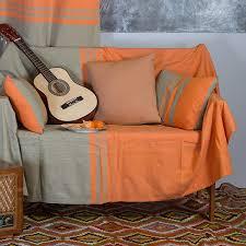 jetee de canapé jeté de canapé en coton rectangulaire orange et vert amande t4