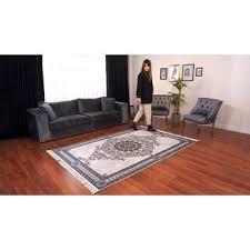 besyildiz designer teppich wohnzimmer kurzflor bedruckt schwarz beige