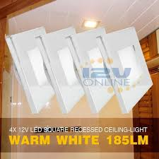 4x 12v led square recessed ceiling light rv cer trailer