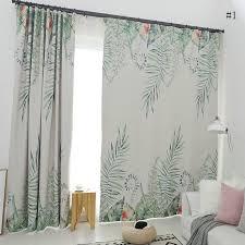 moderner vorhang blätter bunt im wohnzimmer vorhänge