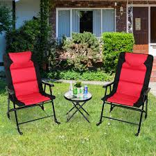 Costway 3 PCS Outdoor Folding Rocking Chair Table Set Bistro Sets Patio  Furniture Red Charleston Acacia Outdoor Rocking Chair Soon To Be Discontinued Ringrocker K086rd Durable Red Childs Wooden Chairporch Rocker Indoor Or Suitable For 48 Years Old Beautiful Tall Patio Chairs Folding Foldable Fniture Antique Design Ideas With Personalized Kids Keepsake 3 In White And Blue Color Giantex Wood Porch 100 Natural Solid Deck Backyard Living Room Rattan Armchair With Cushions Adams Manufacturing Resin Big Easy Crp Products Generations Adirondack Liberty Garden St Martin Metal 1950s Vintage Childrens
