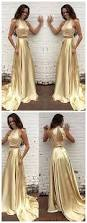 two piece prom dress 2017 sparkly beads long prom dress gold