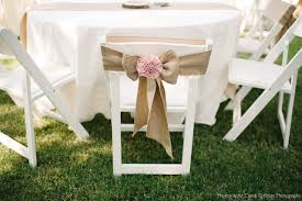 For The Couples That Want A More Vintage And Earthly Feel Burlap Is Great Alternative To Satin Or Even Organza Paired With Blush Rosette These Chairs