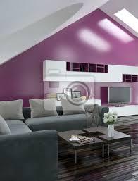 modernes wohnzimmer mit pinker und grauer wand bilder myloview
