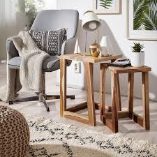 wohnling 2er set mumbai beistelltisch massivholz sheesham design wohnzimmer tisch eckig nachttisch satztisch landhaus stil