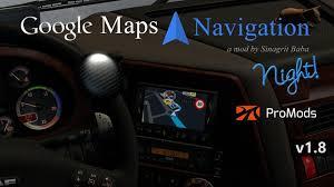 100 Google Truck Maps ETS 2 Navigation Night Version For ProMods V18 ETS2