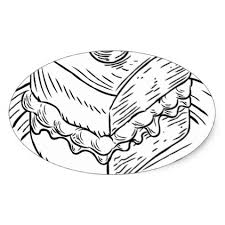Cake Slice Vintage Retro Woodcut Style Oval Sticker drawing sketch design graphic draw personalize