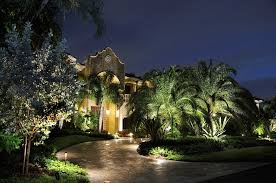 Wide Front Yard For Wonderful House Using Enchanting Landscape Lighting Ideas On Green Trees