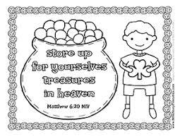 Treasures In Heaven Bible Verse Coloring Boy