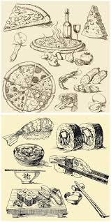 Pizza and sushi vintage illustrations vector 2 sets with different vector pizza and sushi vintage