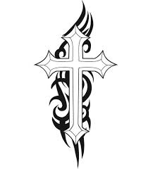 Tribal Design With Cross Tattoo