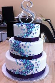 Purple And Blue Flower Wedding Cake By H0p31355