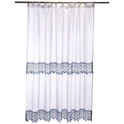Lillian Macrame Shower Curtain, Blue
