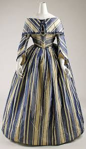 Vintage Gowns American Navy Blue And Cream Striped Silk Dress Circa 1854