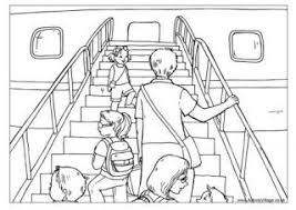 Boarding The Airplane Colouring Page