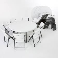Folding Chair Carts Lifetime by Lifetime Combo 4 5 U0027 Round Table And 32 18 5