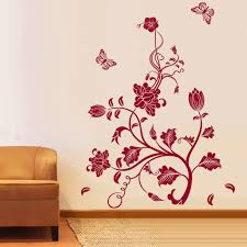 Living Room Cool Red Flower Ornament Wall Paper With Butterflies And Sofa Curve Arms
