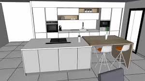cuisine avec ilots cuisine moderne laquée blanc brillant avec îlot