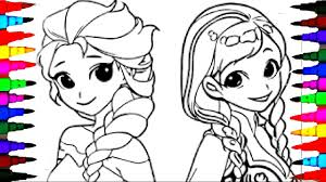 Coloring Pages Disney Frozen Cartoon Elsa And Anna Book Videos For Children Learning Colors