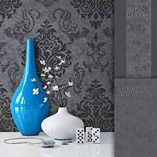 newroom barocktapete tapete schwarz grau ornament barock modern vliestapete vlies moderne design optik barocktapete wohnzimmer inkl tapezier
