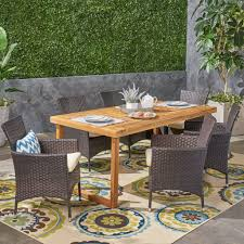 Fraser Outdoor 6-Seater Acacia Wood Dining Set With Wicker Chairs,  Sandblast Natural Finish And Multi Brown And Beige