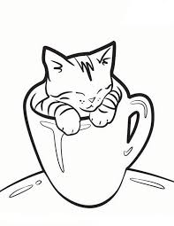 Cat In A Mug Coloring Page