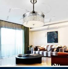 Crystal Ceiling Chandelier Fans Living Room Led Remote Control