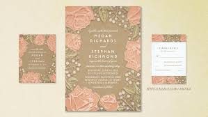 Pink Roses And Babys Breath Craft Paper Wedding Invites