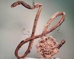 Letter H Twig Topper Cursive Grapevine Rustic Cake