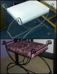 Vanity Chairs For Bathroom Wheels by Diy Skirted Vanity Stool In Grey And White Dyi For Bathroom