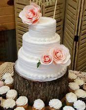 Red Oak Wood Rustic Cake Cupcake Stand Centerpiece Wedding Bark Edge 12 14 Big